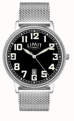 Limit | pulseira de malha de aço inoxidável mens | mostrador preto | 5748.01