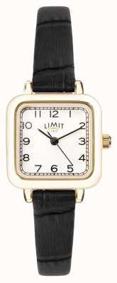 Limit | pulseira de couro preto das mulheres | mostrador prateado | caixa de ouro | 60059.01