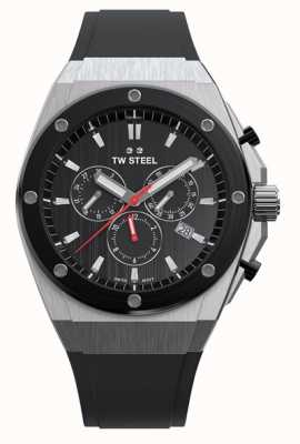 TW Steel Tecnologia ceo | crono | mostrador preto | pulseira de borracha preta CE4042