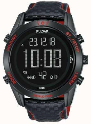 Pulsar | a coleção de esporte de rali | digital | pulseira de couro preto P5A039X1