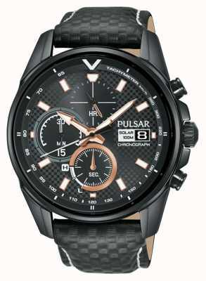 Pulsar | cronógrafo acelerador | pulseira de couro preto | mostrador preto PZ6033X1