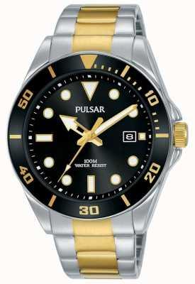 Pulsar | esporte casual | pulseira de aço inoxidável | mostrador preto | PG8295X1