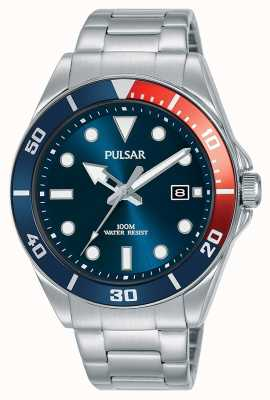 Pulsar   esporte casual   pulseira de aço inoxidável   mostrador azul   PG8291X1