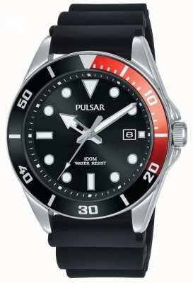 Pulsar   esporte casual   pulseira de borracha preta   mostrador preto   PG8297X1