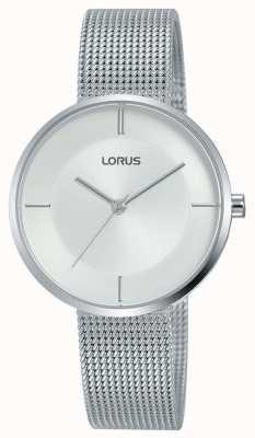 Lorus | pulseira de malha de aço inoxidável das mulheres | mostrador prateado | RG257QX9