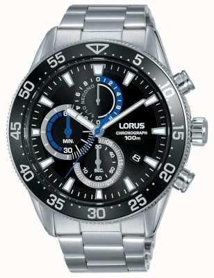 Lorus | cronógrafo mens | mostrador preto | pulseira de aço inoxidável | RM335FX9