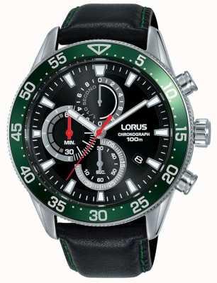 Lorus | cronógrafo mens | moldura verde | pulseira de couro preto | RM347FX9