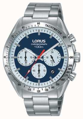 Lorus | cronógrafo mens | pulseira de aço inoxidável | mostrador azul | RT339HX9