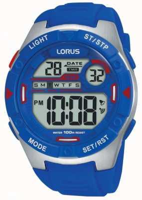 Lorus | mens esportes digitais | pulseira de borracha azul | R2301NX9