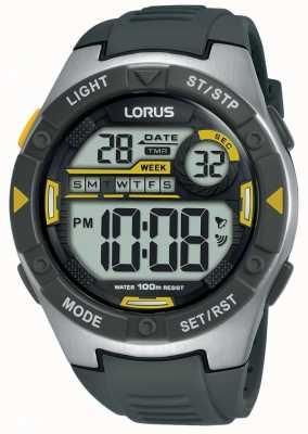 Lorus | mens esportes digitais | pulseira de borracha preta | R2397MX9