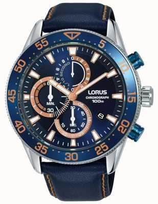 Lorus | cronógrafo mens | moldura azul | couro azul | mostrador azul | RM341FX9
