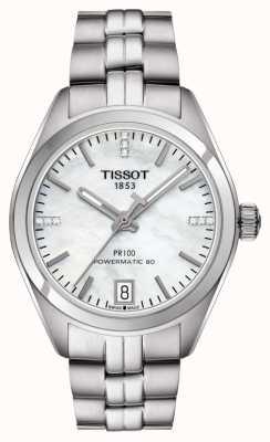 Tissot Womens pr 100 powermatic 80 mãe de pérola de aço inoxidável T1012071111600