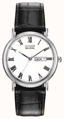 Citizen Correia de couro com pulseira de couro branco para homens eco-drive BM8240-11A