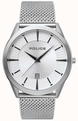 Police | patriota dos homens | pulseira de malha de aço inoxidável | mostrador prateado 15305JS/04MM