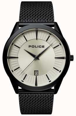 Police | patriota dos homens | pulseira de malha preta | mostrador bege | 15305JSB/79MM