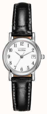 Citizen Womens white dial pulseira de couro preto eco-drive EW1270-06A