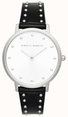 Rebecca Minkoff Major das mulheres | pulseira de couro preto | mostrador prateado | 2200307