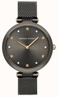 Rebecca Minkoff Nina das mulheres | pulseira de malha cinza | mostrador cinza | 2200302