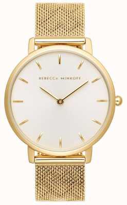Rebecca Minkoff Major das mulheres | pulseira de malha banhada a ouro | discagem silverwhite 2200298