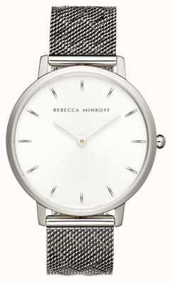Rebecca Minkoff Major das mulheres | pulseira de malha de aço inoxidável | mostrador prateado | 2200297
