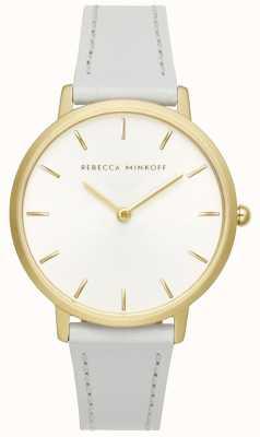 Rebecca Minkoff Major das mulheres | pulseira de couro cinza | mostrador prateado / branco | 2200289