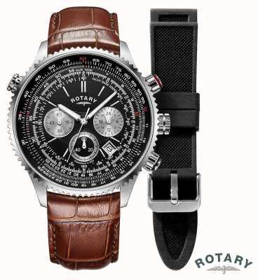 Rotary Pilotos mens | cronógrafo | mostrador preto | pulseira de couro marrom GS00100/04/KIT
