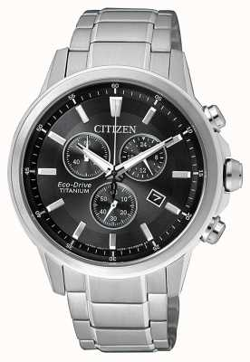 Citizen | mens eco-drive titânio wr100 | mostrador preto / cinza | AT2341-88E