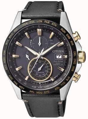Citizen | cronógrafo mundial eco-drive para homem | pulseira de couro preto AT8158-14H