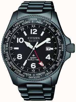Citizen | mens eco-drive promaster gmt | mostrador preto | bracelete preto | BJ7107-83E