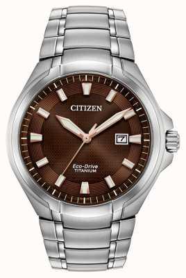 Citizen | mens eco-drive | pulseira de titânio | mostrador marrom | BM7431-51X