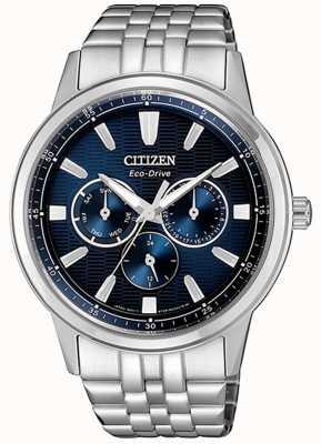 Citizen | eco-drive para homem | pulseira de aço inoxidável | mostrador azul | BU2071-87L