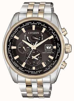 Citizen | hora mundial do eco-drive masculino em | pulseira de aço inoxidável | AT9038-53E