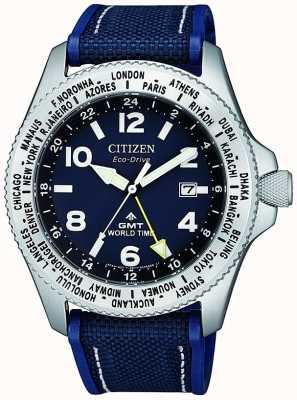 Citizen Relógio masculino com pulseira de lona azul eco-drive promaster gmt com mostrador azul BJ7100-15L