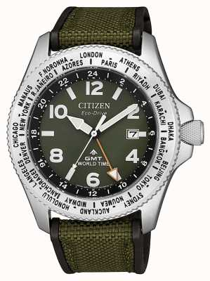 Citizen | mens | eco-drive promaster gmt | tela verde | BJ7100-23X