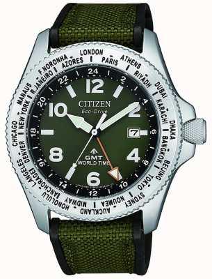 Citizen | mens | ecomaster drive promaster gmt | lona verde | BJ7100-23X