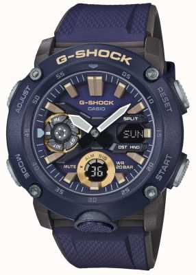 Casio | g-shock tempo do núcleo do carbono | pulseira de borracha azul | GA-2000-2AER