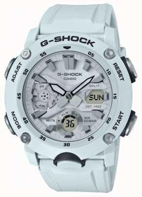 Casio | g-shock guarda núcleo de carbono | pulseira de borracha branca | GA-2000S-7AER