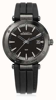 Michel Herbelin | mens newport | pulseira de borracha preta | mostrador preto | 12288/G33CA