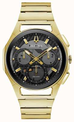 Bulova | curv | mens | pulseira de tom de ouro | mostrador preto do cronógrafo | 97A144