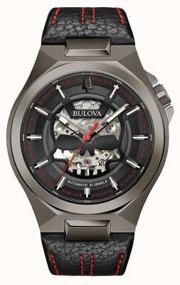 Bulova Mens maquina | automático | pulseira de couro preto | mostrador preto 98A237