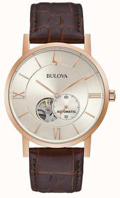 Bulova | mens automático | pulseira de couro marrom | mostrador prateado | 97A150