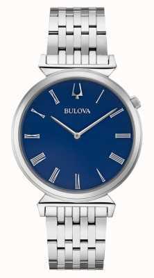 Bulova | mens | pulseira de aço inoxidável | mostrador azul | 96A233