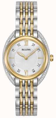 Bulova Diamante clássico das mulheres | pulseira de aço inoxidável de dois tons 98R229
