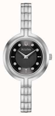 Bulova | rapsódia | mulheres | pulseira de aço | mostrador preto | 96P215