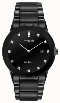 Citizen | axiom eco-drive para homem | mostrador de diamante preto | pulseira preta AU1065-58G