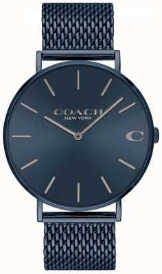 Coach Charles mens | pulseira em aço ip malha azul | mostrador azul 14602146