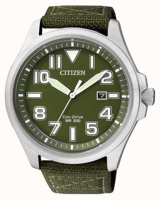 Citizen | eco-drive para homem | cinta de nylon verde | mostrador verde | AW1410-32X