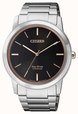 Citizen | mens eco-drive titânio wr50 | mostrador preto | pulseira de prata AW2024-81E
