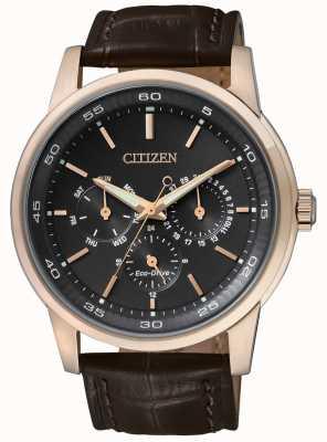 Citizen | eco-drive para homem | pulseira de couro marrom | mostrador crono preto | BU2013-08E