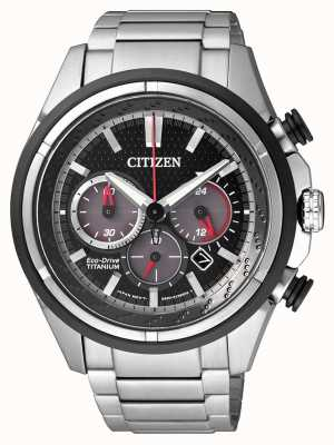 Citizen | eco-drive para homem | pulseira de titânio | mostrador preto | CA4241-55E